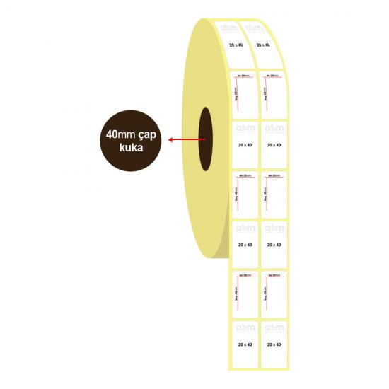 20mm x 40mm 2'li Vellum Etiket (Sticker)