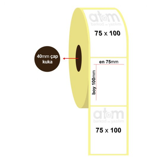 75mm x 100mm Termal Etiket (Sticker)