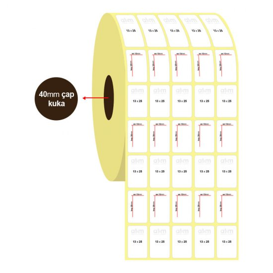 13mm x 25mm 5'li Vellum Etiket (Sticker)