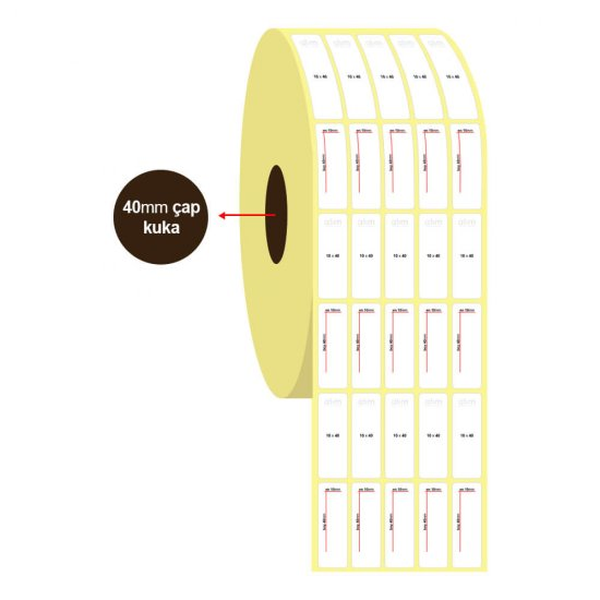 10mm x 40mm 5'li Vellum Etiket (Sticker)