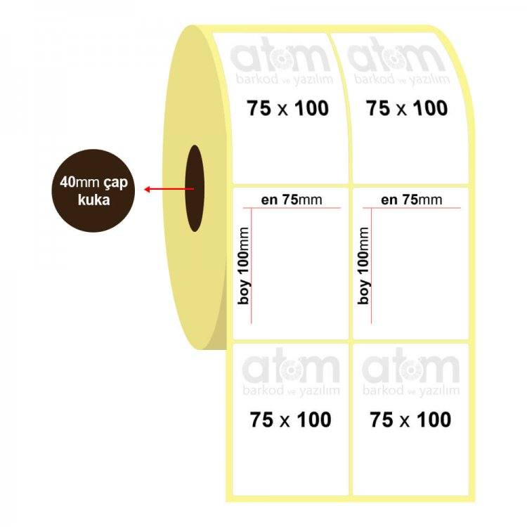 75mm x 100mm 2'li Vellum Etiket (Sticker)