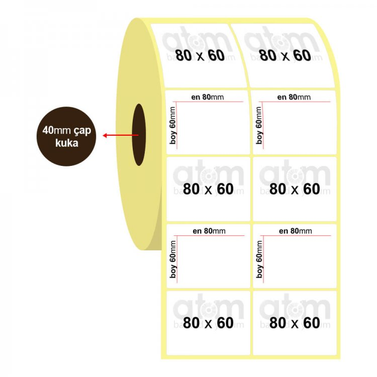 80mm x 60mm 2'li Vellum Etiket (Sticker)