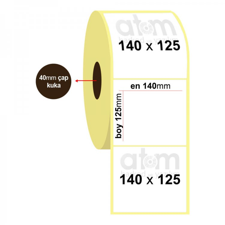 140mm x 125mm Vellum Etiket (Sticker)